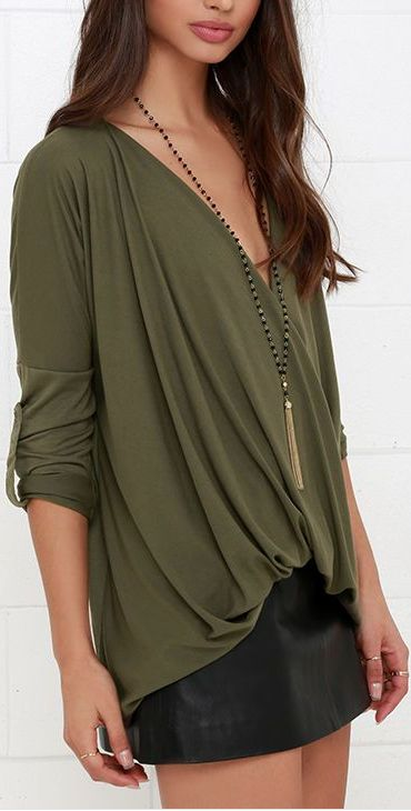 This Is Twist Olive Green Long Sleeve Top