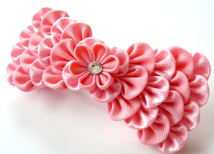 Kanzashi fabric flower french barrette. Pink bow by JuLVa on Etsy