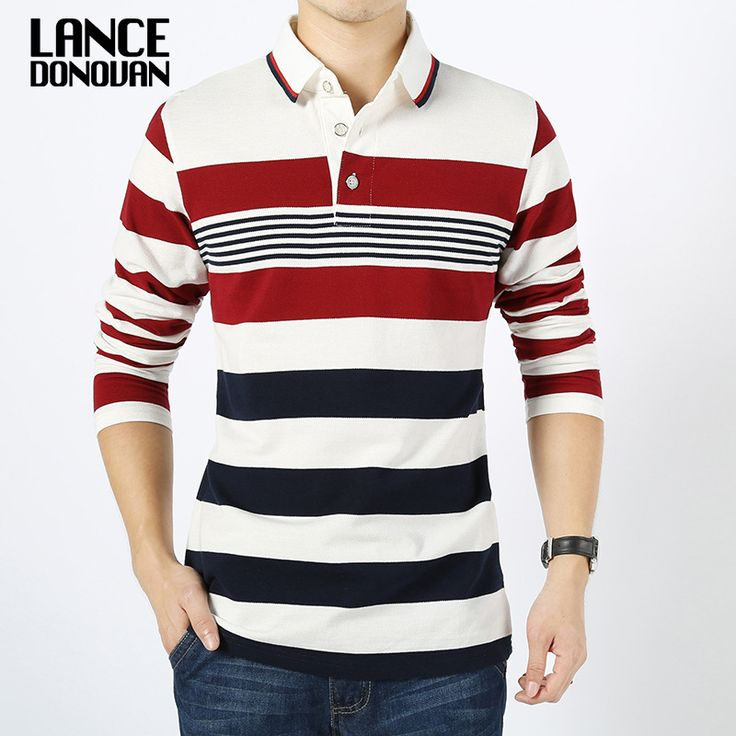 Mannen engeland stijl gestreepte polo shirt 95% katoen lange mouw nieuwe 2016 lente merk kleding m-4xl big size