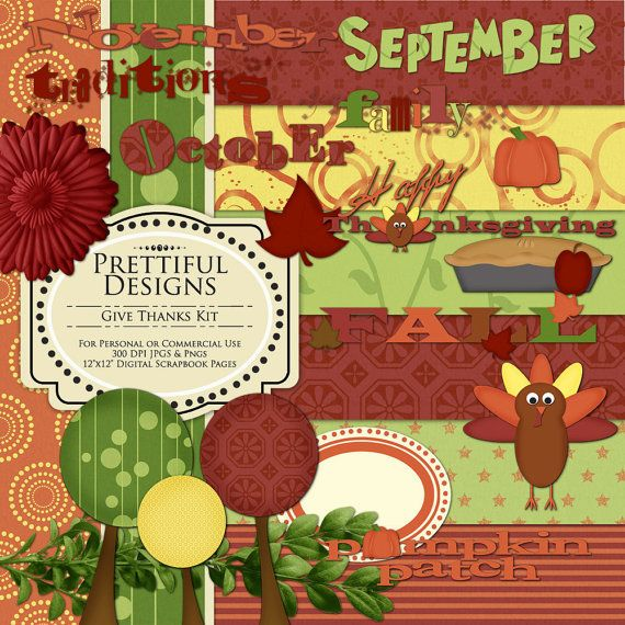 Thanksgiving Digital Scrapbooking Kit with Papers, Elements and Word Art - (64) (166) (397)
