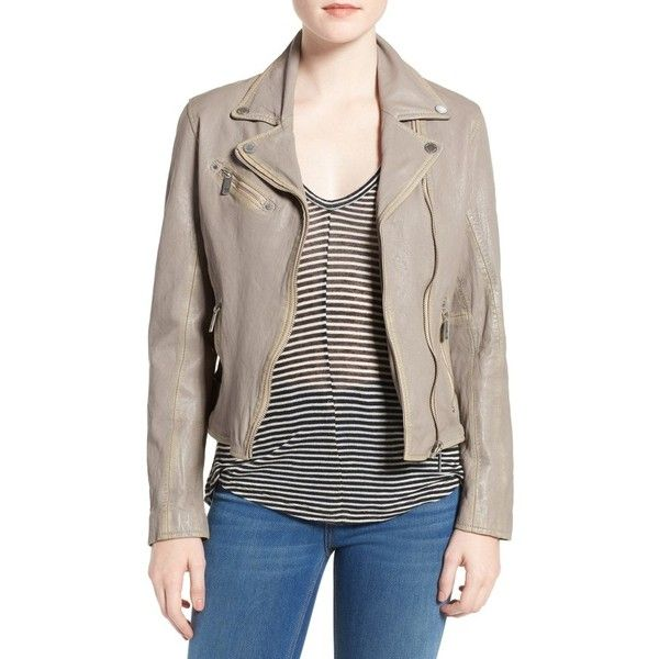 Women's Mauritius Leather Moto Jacket ($249) ❤ liked on Polyvore featuring outerwear, jackets, elephant, rider jacket, lamb leather jacket, motorcycle jacket, lambskin leather jackets and elbow patch jacket
