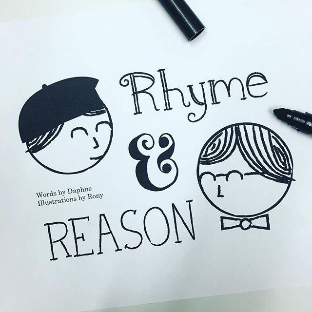 """""""Who says there's no reason in rhyme, no rhyme in reason? They can fly a white flag, sign a truce, denounce the treason. They're opposites no doubt-- one wears a tie, the other a beret; But you can use them both to lend beauty and meaning to what you say."""" /// The early stages of a children's book I'm working on... #rhymeandreason #illustration #poetry"""