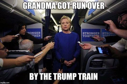 Trump Train ran Granny Hillary Killery over with unrelenting menace BWAHAHAHAHA ~@guntotingkafir GOD BLESS AMERICA AND GOD BLESS PRESIDENT TRUMP!!!