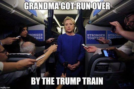 Trump Train ran Granny Hillary Killery over with unrelenting menace BWAHAHAHAHA ~@guntotingkafir GOD BLESS AMERICA AND GOD BLESS PRESIDENT TRUMP!!!