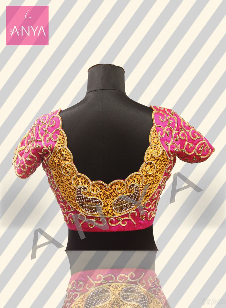 Charming paisley cutwork and stonework embroidered blouse to add more elegance to your saree.