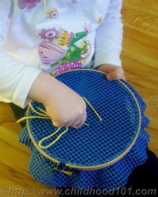 Toddler Sewing. Use the non-slip under rug liner and put in embroidery hoop. Give them yarn and a large blunt needle. For big kids, draw a letter or two for them to learn to back stitch. This can be great for some busy time.