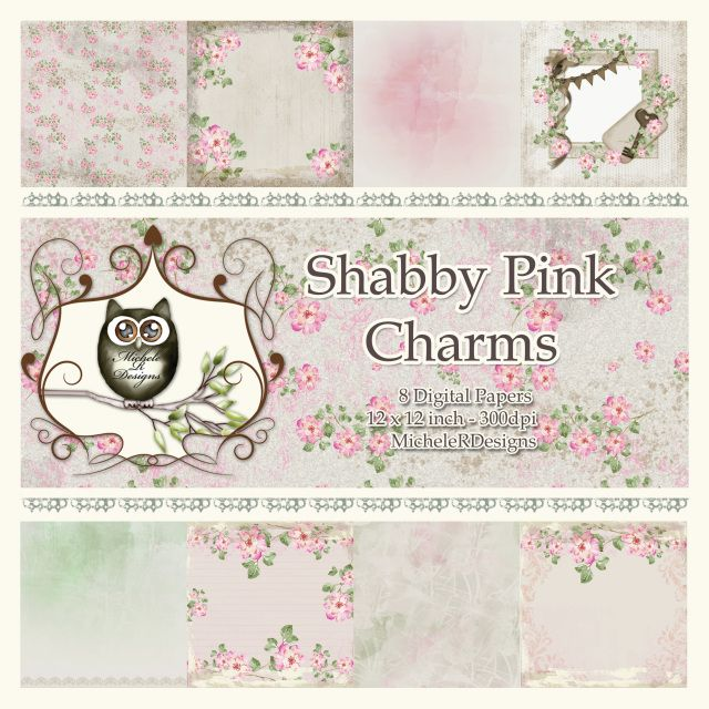 *****NEW***** Shabby Pink Charms 12x12 Digital Papers, Digital Paper Pack, Digital Collage Sheet, Cardmaking, Scrapbooking