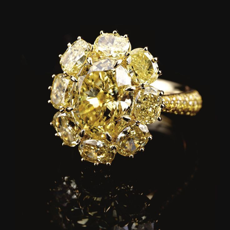 Sothebys Fancy intense yellow diamond ring