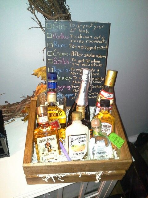 Guy Friendly Housewarming Gift A Diffe Bottle Of Liquor For New Homeowner Occations Ideas Baskets Gifts