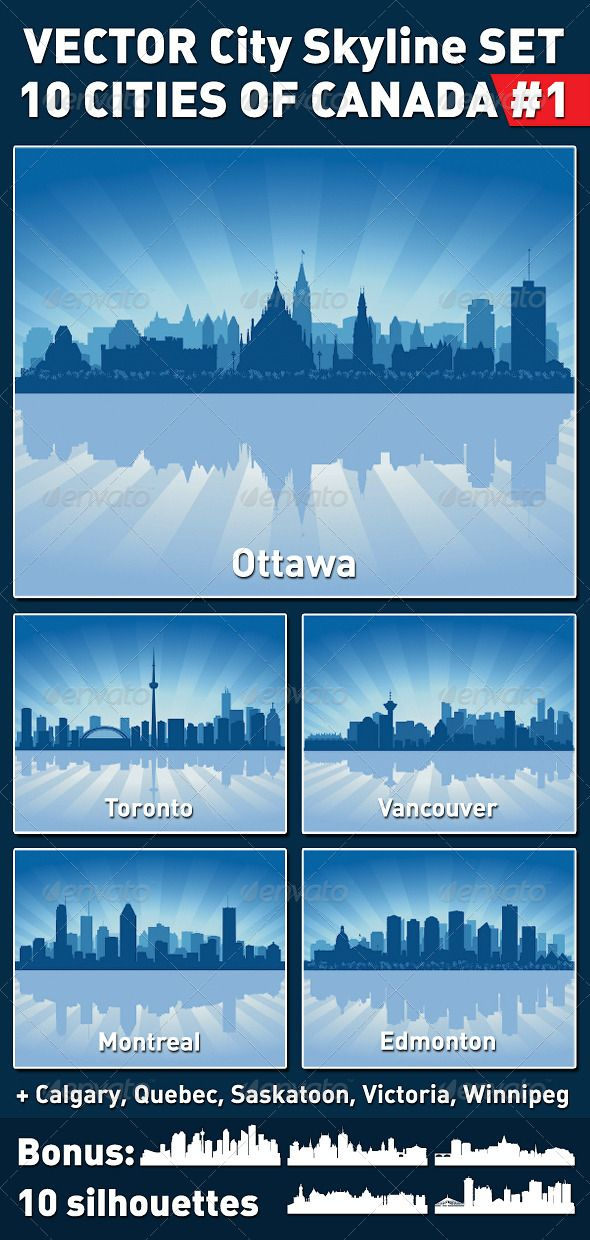 Vector City Skyline Set. Canada #1 #GraphicRiver This is a set #1 of 10 cities of Canada in vector. It can be used for any design work associated with city, skyline, cityscape, metropolis, and urban landscapes. The files were saved in EPS8, they are very easy to edit. Archive includes: 10 illustrations of cities on blue background: Ottawa, Toronto, Vancouver, Montreal, Edmonton, Calgary, Quebec, Saskatoon, Victoria, Winnipeg. 10 isolated silhouettes for this cities and high resolution Jpeg…