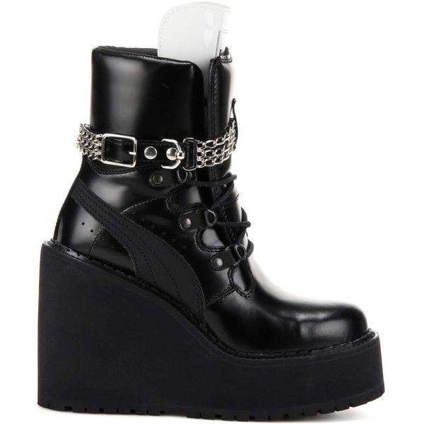 FENTY by Rihanna Rihanna Embellished Leather Wedge Ankle Boots ($395) ❤ liked on Polyvore featuring shoes, boots, ankle booties, black booties, wedge bootie, black leather boots, black leather booties and black wedge ankle booties
