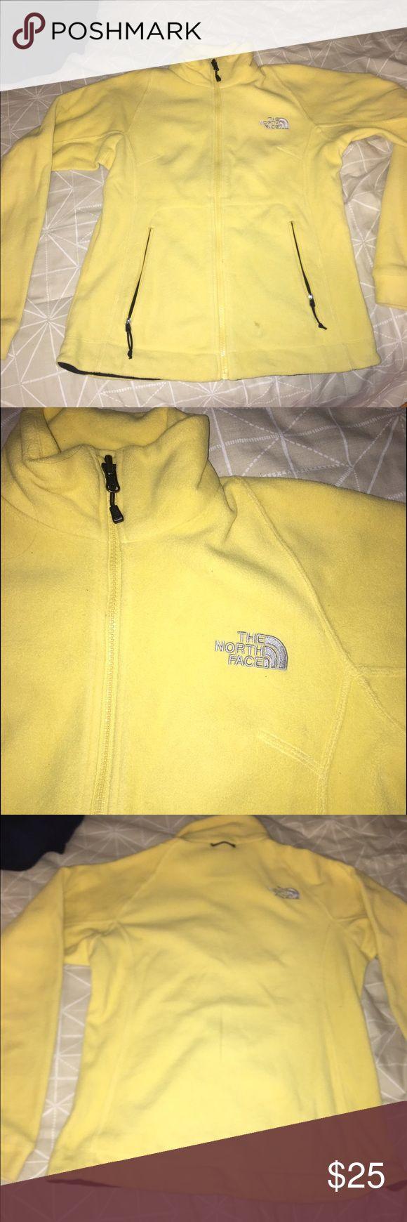 Women's Yellow North Face Fleece zip up Great condition! North Face Tops Sweatshirts & Hoodies