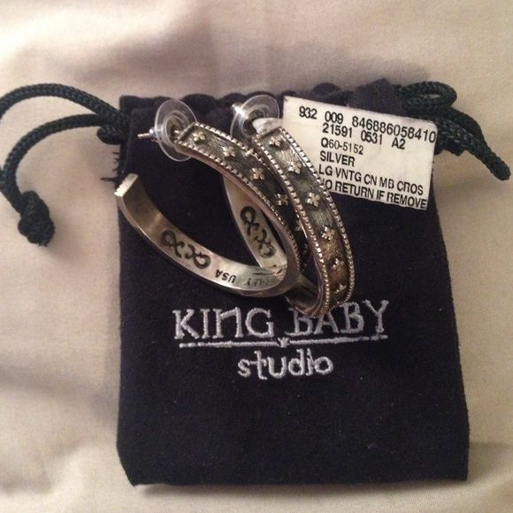 """King Baby Silver Earrings Rock and Roll Culture at it's most exclusive is what this designer is all about! These earrings are part of the """"queen baby collection"""" which is the female devision of the """"king baby"""" designer jewelry studio. They are .925 sterling and stamped with the logo on the inside. They are for the rocker chick with style! Never worn! King Baby  Jewelry Earrings"""