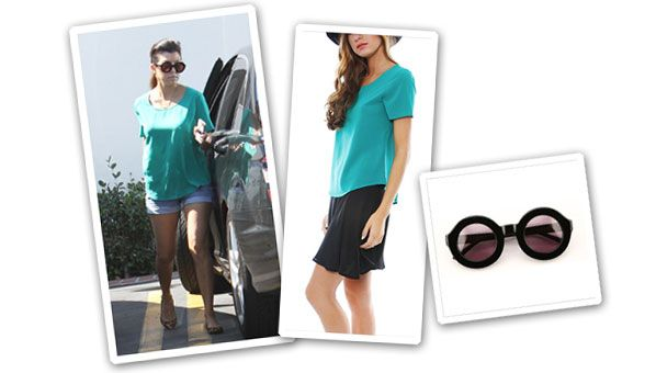 Kourtney Kardashian's casual style.  Check out those glasses…. Wildfox Sun Twiggy Sunnies ($179).