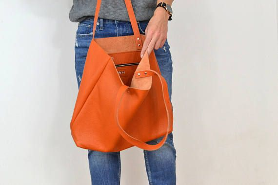 LEATHER TOTE with zipper Orange Leather tote Tote bag