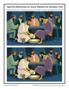 Jesus washes the disciples feet spot the difference