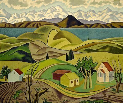 'Central Otago', a watercolor by Rita Angus, 1940