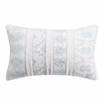 Cupcakes And Cashmere Mosaic Tile Corded Lumbar Pillow Blue House