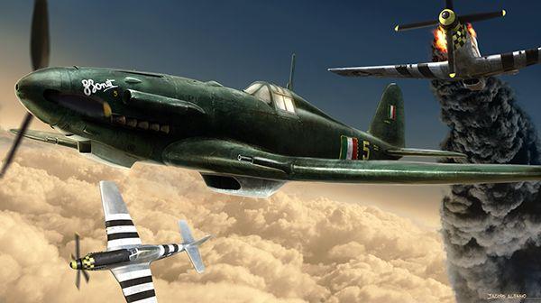 Wallpaper Italian Fiat G.55 Centauro vs 2 P-51s. World War II dogfight.