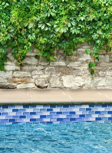 CAUTION  Think about clashing blues between the tile, water and plaster color chosen!  Blue 1 inch by 2 inch Glass waterline tile in swimming pool under rock wall