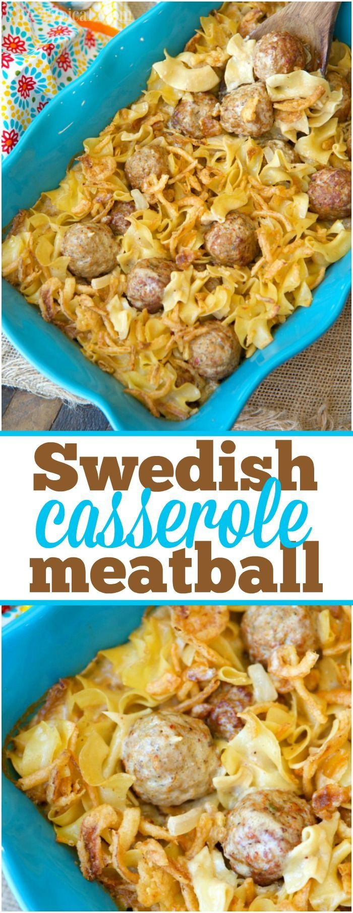 This easy Swedish meatball casserole recipe will bring you back to your childhood! Creamy comfort food with crispy onions on top will make you want seconds. AD via @thetypicalmom