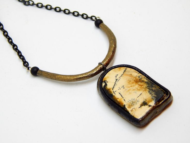 Leather pendant with dendritic agate, Necklace with dendritic opal di HelgaDream su Etsy