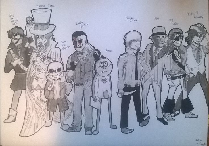 Poster i made to my room! I drew my 9 favourite characters: Tony (DHMIS), Mephisto Pheles (manga Ao no exorcist), Sans (Undertale), Eddie Gluskin (Outlast), Benson (Regular show), Vincent (FNAF), Spy (Team Fortress 2), Bill Cipher Human pirate (Gravity falls) and Kotetsu (manga Tiger & Bunny)