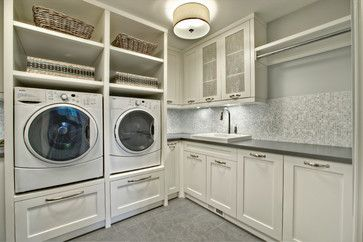 color theme in laundry room - white sides, dark top, tiny grey tiles above/up to window + large grey subway tile floor