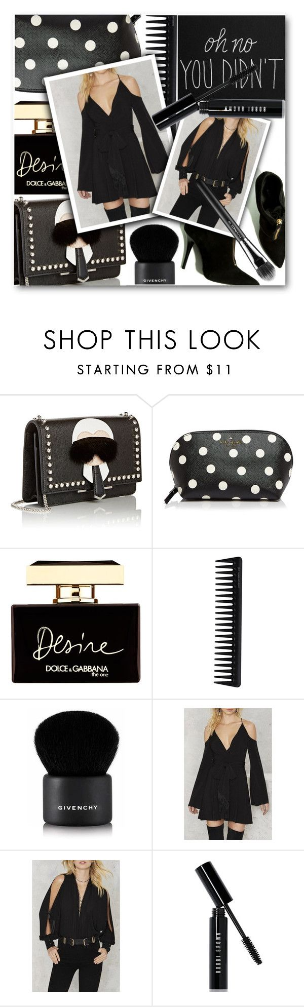 """""""Slay."""" by eclectic-chic ❤ liked on Polyvore featuring Fendi, Kate Spade, Dolce&Gabbana, GHD, Givenchy, Bobbi Brown Cosmetics, MAC Cosmetics, allblack, beautifulhalo and bhalo"""