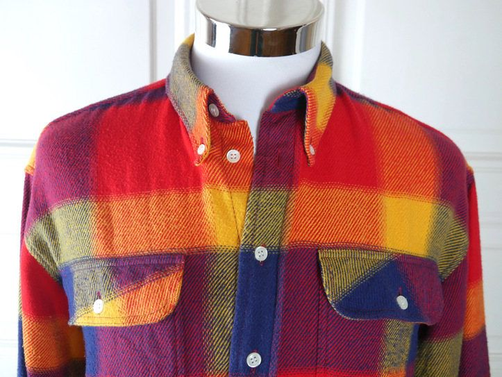 European Vintage Flannel Shirt, Red Orange Gold Blue Violet Retro Plaid Button-Down Collar Long-Sleeve Swedish Flannel Shirt: Size XL by YouLookAmazing on Etsy