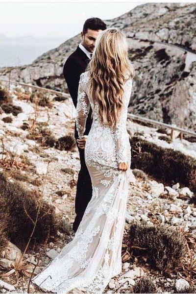 Spitze rückenfreies Brautkleid, Vintage Brautkleid, Langarm Brautkleid, V zurück ...