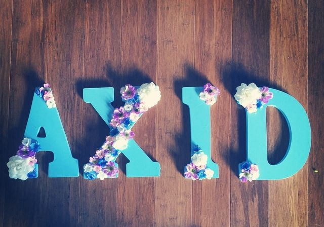 Alpha Xi Delta Sorority Letters with Flowers | Check out my blog for more things…