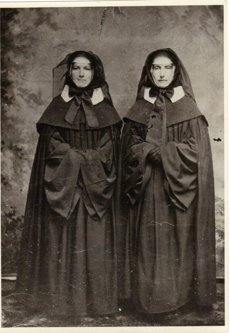 This cloak and bonnet attire is the traditional dress of the Sisters of Mercy when visiting the Sick.  Sisters of Mercy of the Americas, Mercy Heritage Center, Buffalo Collection.