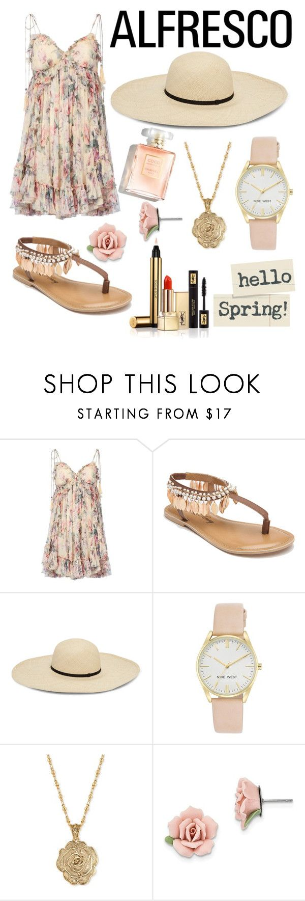 """Hello Spring"" by rollingstonequeen ❤ liked on Polyvore featuring Zimmermann, Penny Loves Kenny, Nine West, 2028, 1928 and Yves Saint Laurent"