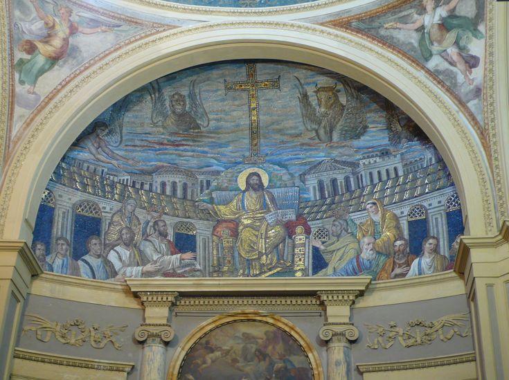 Basilica di Santa Pudenziana, Roma. Il mosaico Cristo in trono circondato dagli apostoli. 390. Kitzinger attribuisce il mosaico al 402–417