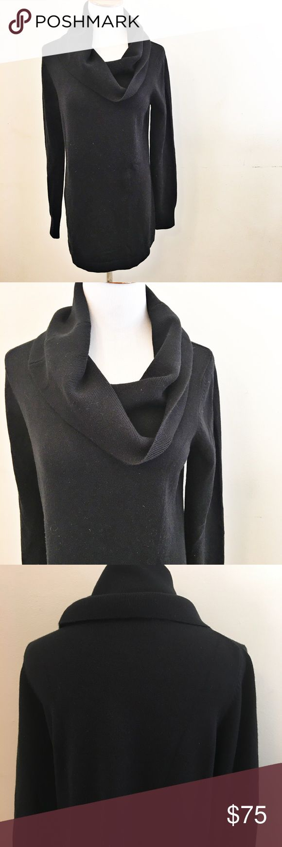 "French Connection Black Turtle Neck Tunic My daughter cut out the fabric tag and I don't remember what this fabric content is, but dang this is so soft. It feels like minky, if you've ever felt that stuff! This is a large cowl neck/turtle neck Tunic that looks seriously awesome with black leggings and boots. This is roughly 40"" around at bust, unstretched and 30"" from shoulder to bottom hem. French Connection Sweaters"