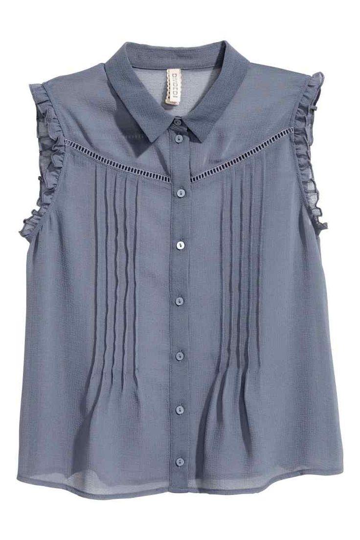 Blúzka bez rukávov - holubia modrá - ŽENY | H&M SK