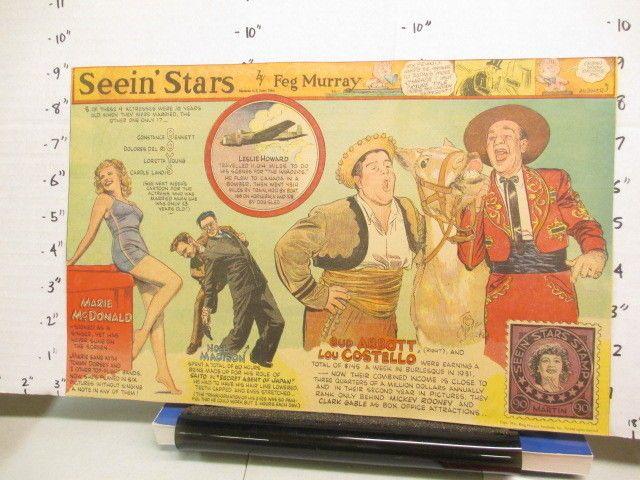 newspaper ad 1940s SEEIN STARS Abbott Costello Marie McDonald Noel Madison