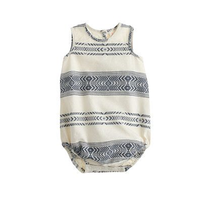 An essential easy layer, specially designed with a wide envelope neckline and a snap closure for superquick changes. It's made from soft cotton with a cool navajo stripe that's perfect for warmer weather. <ul><li>Please note that sizes are measured in months.</li><li>Cotton.</li><li>Machine wash.</li><li>Import.</li><li>Online only.</li></ul>