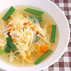 ニラとエノキの卵スープ