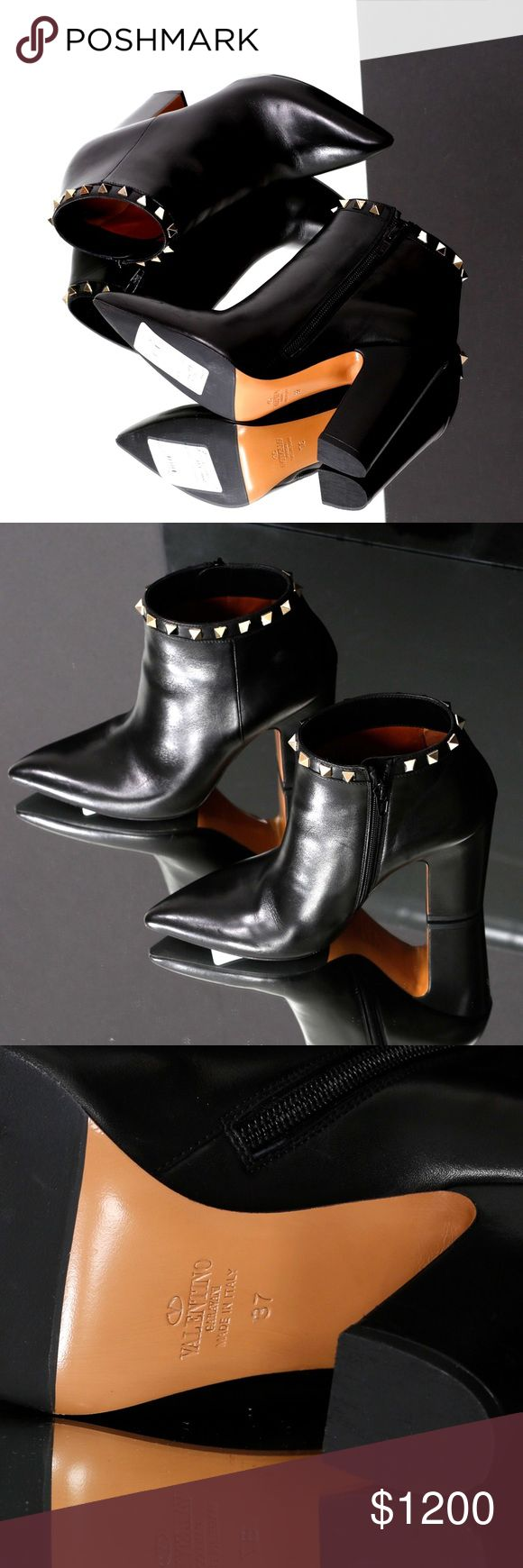 Valentino, Black Leather Ankle Booties 100% authentic Valentino. Size 37 (euro). NEVER WORN! The pictures in the listing are of the actual shoes for sale. Heel height: 3 3/4in. Super sleek, semi-matte leather bootie, features gold studs and a wide based heel. Hope you love them as much as we do! -xo Valentino Shoes Ankle Boots & Booties