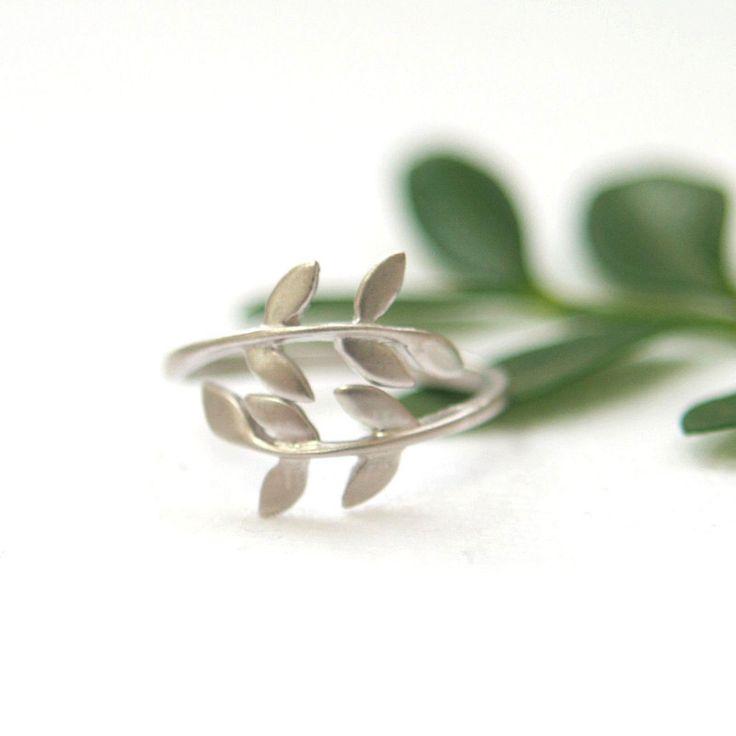 Silver leaf ring on Etsy.