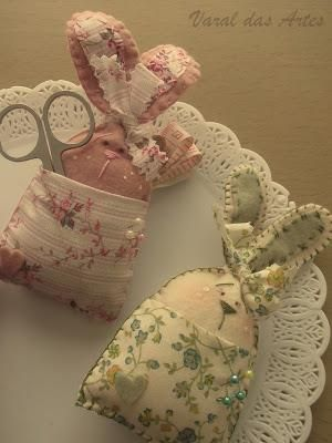 rabbit pin cushion and scissor holders.