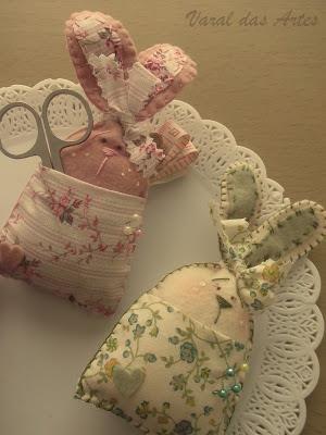 rabbit pin cushion and scissor holders.