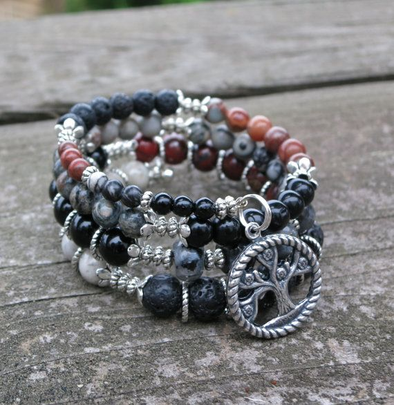 Made with Red Jasper, Moss Agate, Black and White Labradorite, Larvikite, Black Lava and Silver plated beads.  Dimensions: approximately 3 1/2