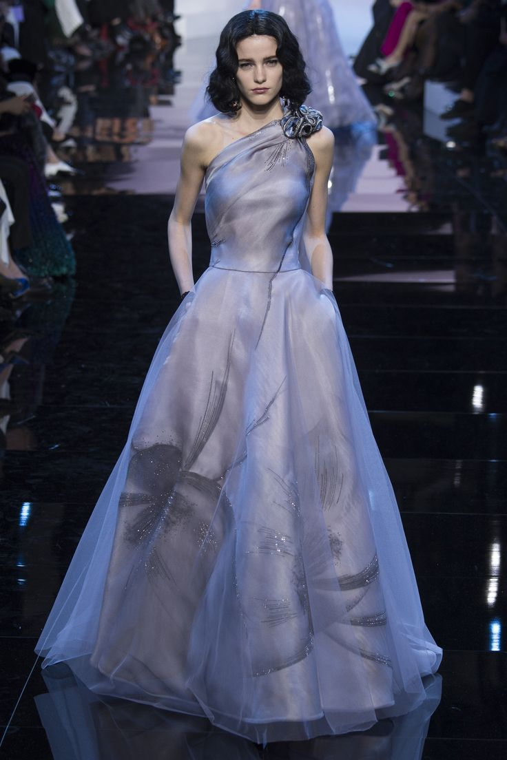Stunning Off One Shoulder Lilac with a Hint of Black Gown by Armani Privé Spring 2016 Couture Fashion Show