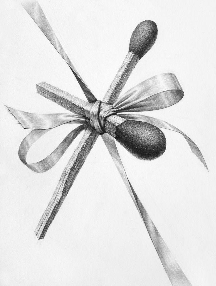 달동네 그림연구실 :: [기초질감소묘] 성냥개비, 리본