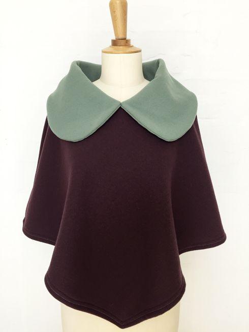 cape femme col croisé noeud laine cachemire liberty mode vintage carreaux hiver couture création british aubergine