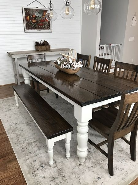 """James+James: 7' L x 37"""" W x 30"""" H Baluster Table with a traditional tabletop stained Dark Walnut with an Ivory painted base. Pictured with a Dianne Bench and Henry Dining Chairs."""