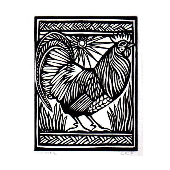 Big Rooster original block print by carenloebelfried on Etsy, $70.00